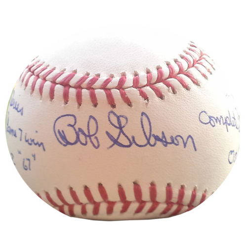 Cardinals Authentics: Bob Gibson Inscribed Complete Game 7 Vicotrys 1964 & 1967 Autographed Baseball