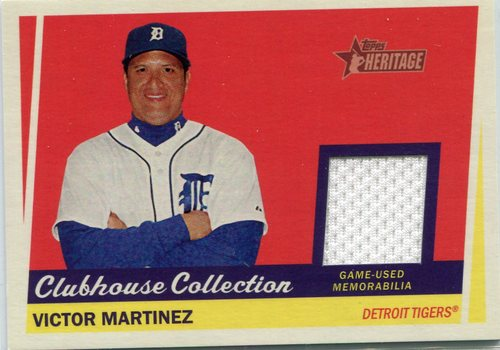 Photo of 2016 Topps Heritage Clubhouse Collection Relics game worn jersey Victor Martinez