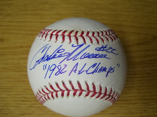 "Photo of Charlie Moore ""AL Champs 1982"" Autographed Baseball"