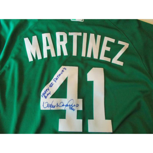 Photo of Autographed Victor Martinez St. Patrick's Day Jersey