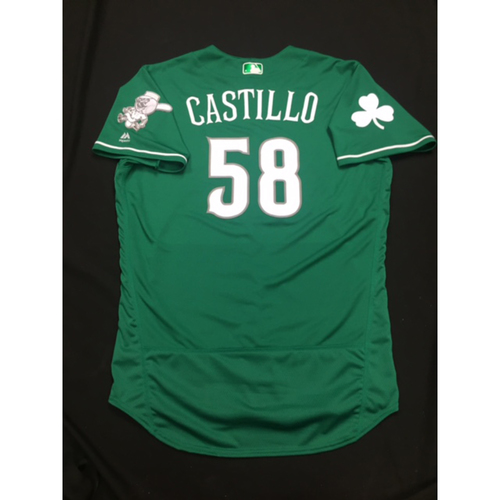 Photo of Luis Castillo -- Game-Used -- Irish Heritage Jersey -- Worn for Bronson Arroyo Farewell Game -- Red Sox vs. Reds -- 9/23/17