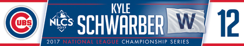 Photo of Kyle Schwarber Game-Used Locker Nameplate -- NLCS Game 4 -- Dodgers vs. Cubs -- 10/18/17
