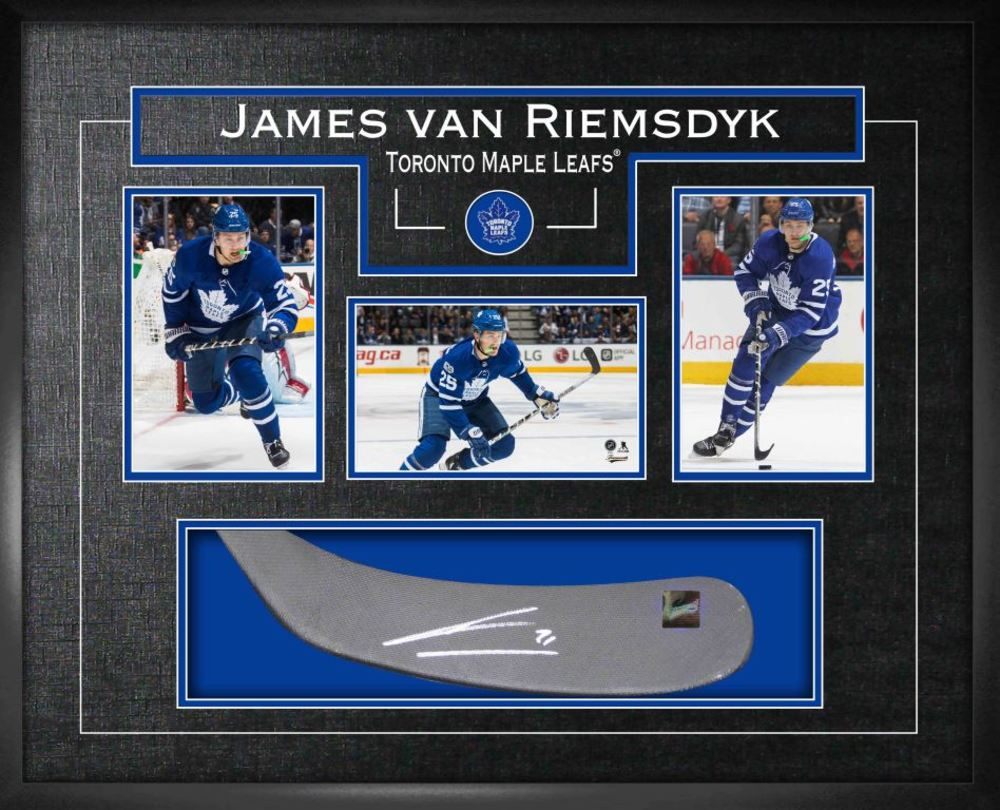 James Van Riemsdyk - Signed Stickblade Leafs w/3-4x6 Photos