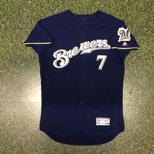 Photo of Eric Thames 05/09/17 Game-Used Navy Alternate Jersey - 13th HR Game