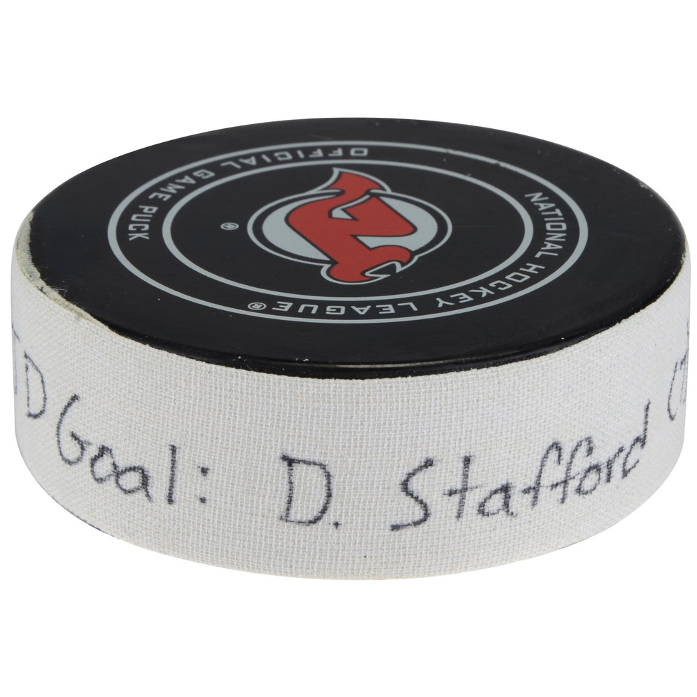 Drew Stafford New Jersey Devils Game-Used Goal Puck vs. Washington Capitals on January 18, 2018