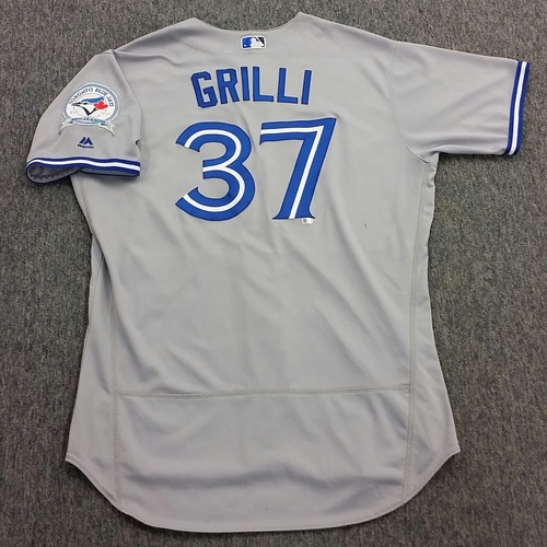 Photo of Authenticated Game-Used #37 Jason Grilli Road Jersey - worn June 7, 2016 at Detroit Tigers.