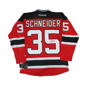 Cory Schneider #35 PLAYER KITZ Signature Series Premier Replica Stitched Signature New Jersey Devils Home Jersey