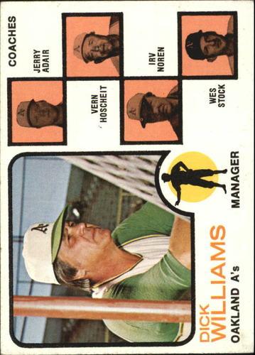 Photo of 1973 Topps #179B Dick Williams MG/Jerry Adair CO/Vern Hoscheit CO/Irv Noren CO/Wes Stock CO/Hoscheit