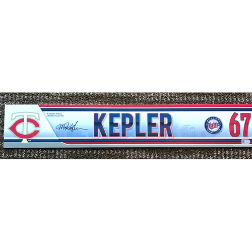 Photo of 2015 Game-Used and Autographed Max Kepler Locker Tag
