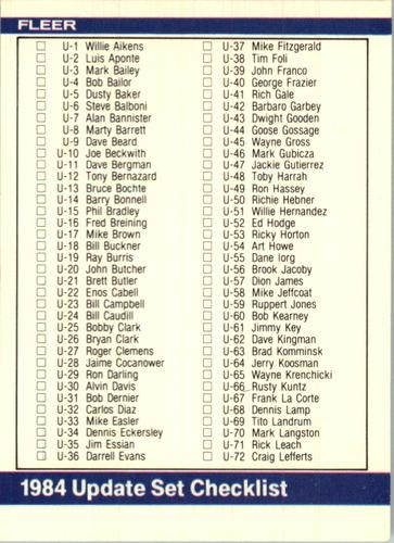 Photo of 1984 Fleer Update #132 Checklist 1-132