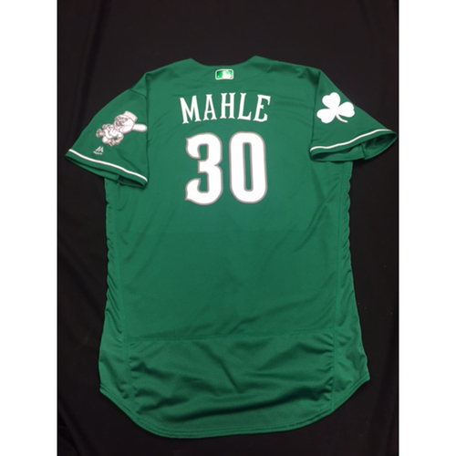 Photo of Tyler Mahle -- Game-Used -- Irish Heritage Jersey -- Worn for Bronson Arroyo Farewell Game -- Red Sox vs. Reds -- 9/23/17