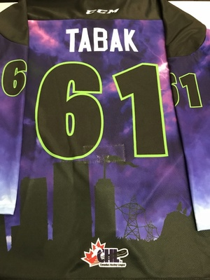 #61 Anthony Tabak Autographed game worn Sarnia Sting Esports jersey