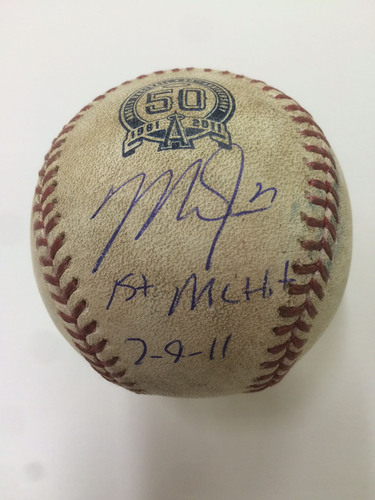 Photo of Mike Trout Game-Used Baseball from 1st Career Hit Game