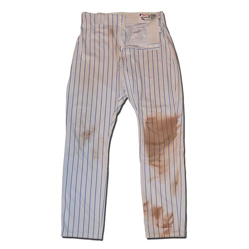 Photo of Travis d'Arnaud #18 - Game Used White Pinstripe Pants - Mets vs. Marlins - 8/31/16