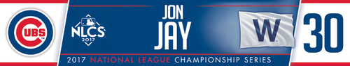Photo of Jon Jay Game-Used Locker Nameplate -- NLCS Game 4 -- Dodgers vs. Cubs -- 10/18/17