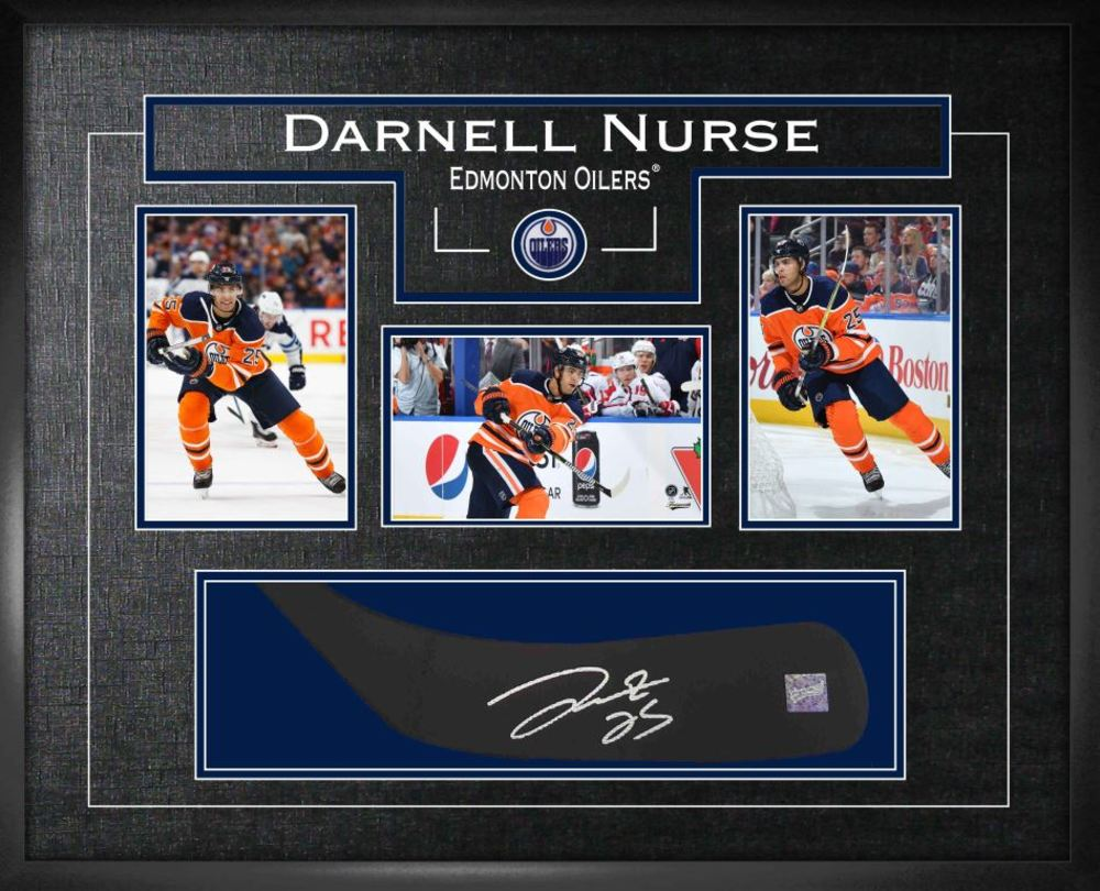Darnell Nurse - Signed Stickblade Oilers w/3-4x6 Photos