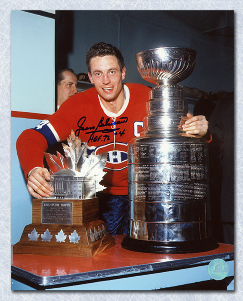 Jean Beliveau Montreal Canadiens Signed Stanley Cup & Conn Smythe 8x10 Photo