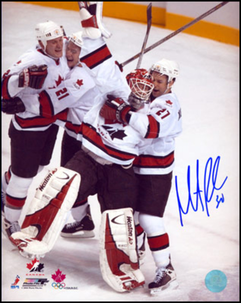 MARTIN BRODEUR Team Canada SIGNED 2002 Gold Medal Celebration 8x10 Photo