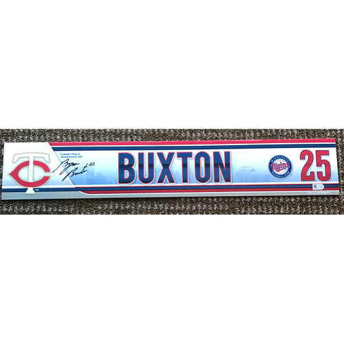 Photo of 2015 Game-Used and Autographed Byron Buxton Locker Tag