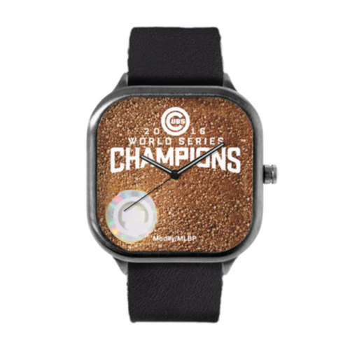 Photo of Chicago Cubs 2016 World Series Champions Leather Strap Metal Watch with Game-Used Dirt from Game 7 by Modify Watches