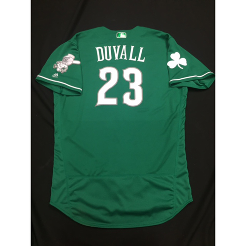 Photo of Adam Duvall -- Game-Used -- Irish Heritage Jersey -- Worn for Bronson Arroyo Farewell Game -- Red Sox vs. Reds -- 9/23/17
