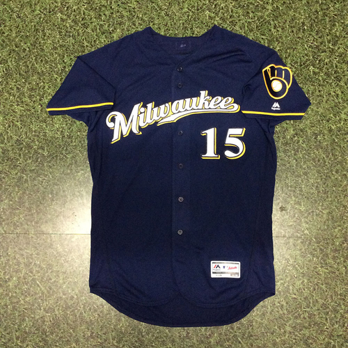Photo of Neil Walker 2017 Game-Used Navy Ball&Glove Jersey