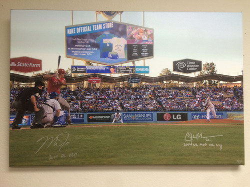 Photo of Clayton Kershaw And Mike Trout Autographed MVP CY Young Canvas