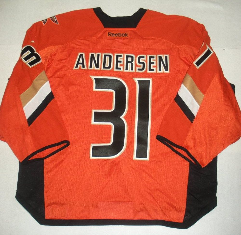 Frederik Anderson - 2014 Stadium Series - Anaheim Ducks - Orange Game-Worn Backup-Only Jersey - Worn in First Period