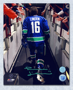 Trevor Linden Vancouver Canucks Autographed Reverse Tunnel Walk 8x10 Photo