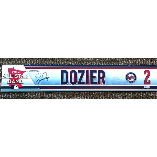 Photo of 2014 Game-Used and Autographed Brian Dozier Locker Tag