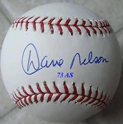 "Photo of Dave Nelson ""73 AS"" Autographed Baseball"