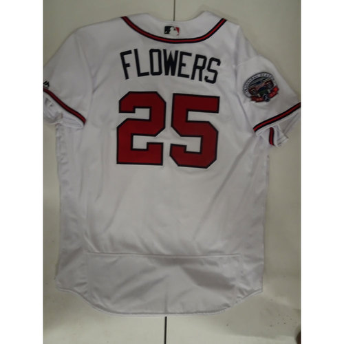 Photo of Tyler Flowers Game-Used Jersey Worn on Opening Day at SunTrust Park - April 14, 2017