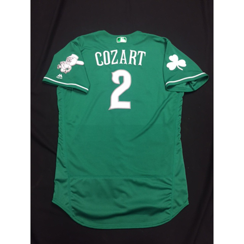 Photo of Zack Cozart -- Game-Used -- Irish Heritage Jersey -- Worn for Bronson Arroyo Farewell Game -- Red Sox vs. Reds -- 9/23/17