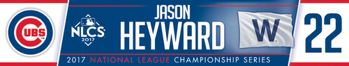 Photo of Jason Heyward Game-Used Locker Nameplate -- NLCS Game 4 -- Dodgers vs. Cubs -- 10/18/17