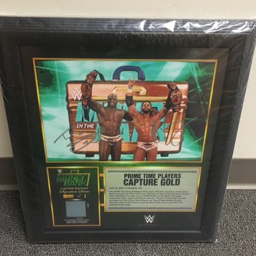 Photo of Darren Young & Titus O'Neil SIGNED Money in the Bank 2015 Ring Canvas Plaque