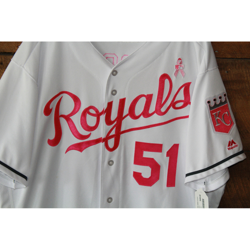 Photo of Jason Vargas Game-Used Mother's Day Jersey: May 14, 2017 BAL at KC (Size 50)