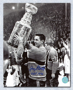 Jean Beliveau Montreal Canadiens Signed Black & White Stanley Cup 8x10 Photo