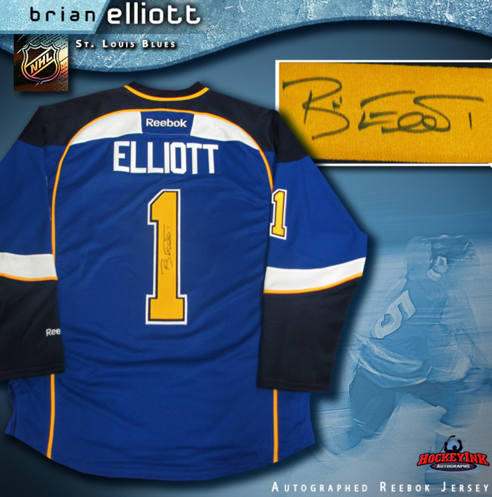 BRIAN ELLIOTT Signed St. Louis Blues Blue Reebok Jersey