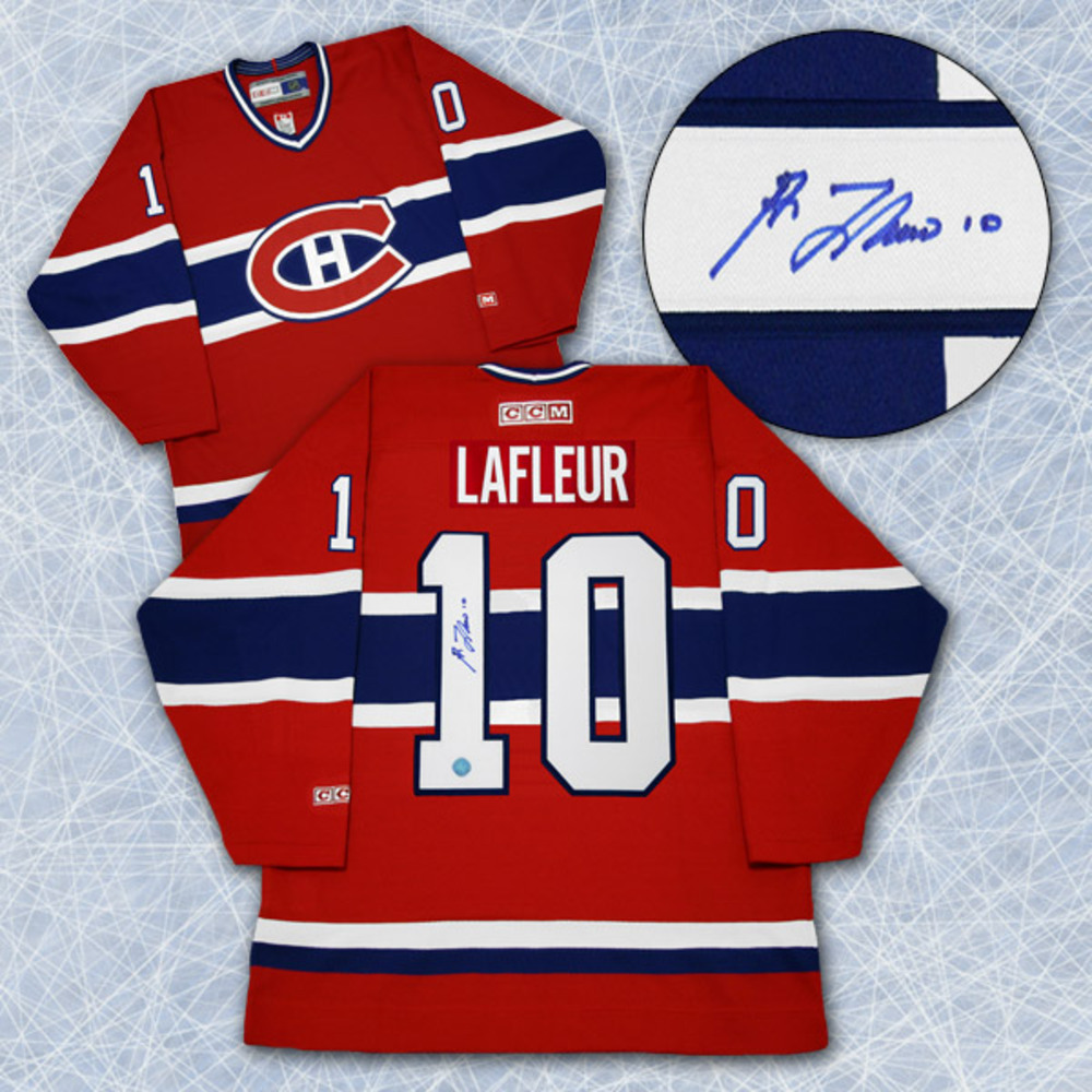 Guy LaFleur Montreal Canadiens Autographed Retro CCM Hockey Jersey