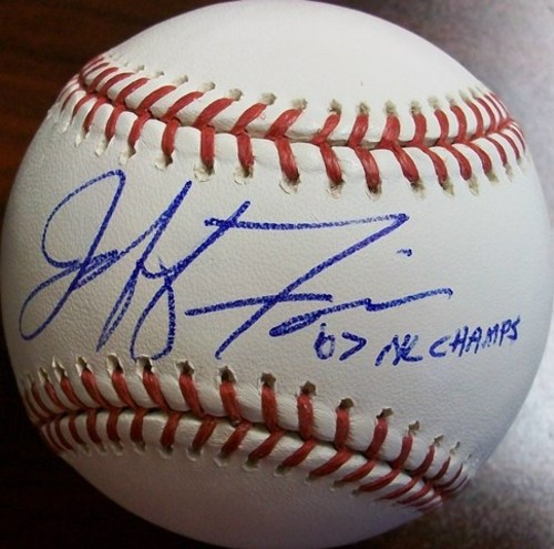 "Photo of Jeff Francis ""07 NL Champs"" Autographed Baseball"
