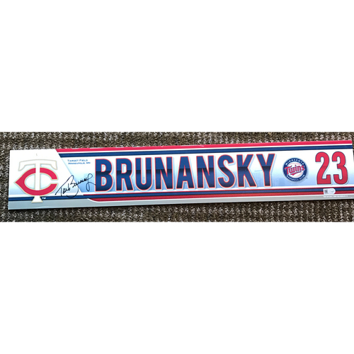 Photo of 2015 Game-Used and Autographed Tom Brunansky Locker Tag