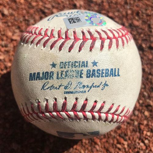 Photo of San Francisco Giants - 2017 Game-Used Baseball - Buster Posey single, Denard Span single, Brandon Belt pop out, Eduardo Nunez line out, Brandon Crawford wild-pitch