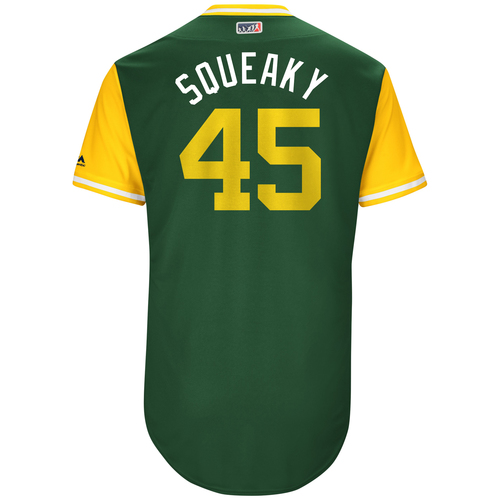 "Photo of Jharel ""Squeaky"" Cotton Oakland Athletics Game-Used Players Weekend Jersey"
