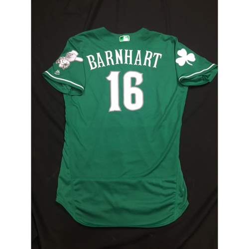 Photo of Tucker Barnhart -- Game-Used -- Irish Heritage Jersey -- Worn for Bronson Arroyo Farewell Game -- Red Sox vs. Reds -- 9/23/17