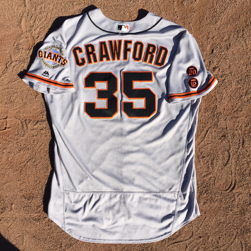 Photo of San Francisco Giants - Game-Used Jersey - Brandon Crawford - Worn on 7/24/16 @ NY Yankees - 1 for 4