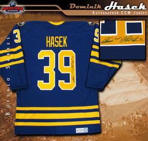 DOMINIK HASEK Signed Buffalo Sabres Blue CCM Jersey