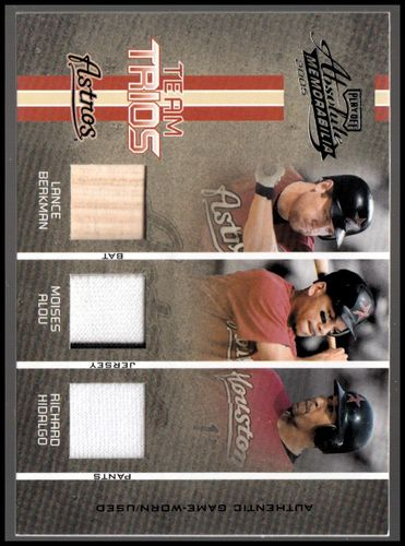 Photo of 2005 Absolute Memorabilia Team Trios Swatch Single #44 Lance Berkman Bat/Moises Alou Jsy/Richard Hid