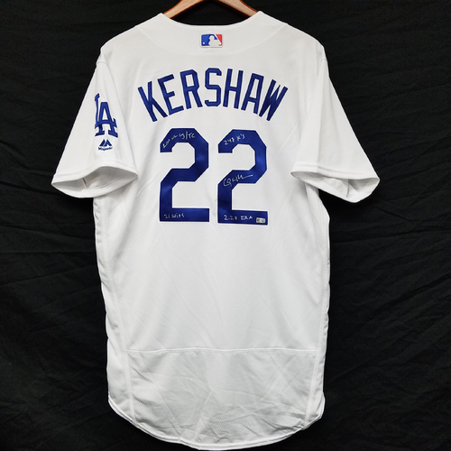 Photo of Kershaw's Challenge: Clayton Kershaw 2011 Autographed Home Jersey with Statistic Inscriptions