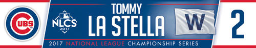 Photo of Tommy La Stella Game-Used Locker Nameplate -- NLCS Game 4 -- Dodgers vs. Cubs -- 10/18/17