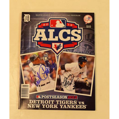 Photo of Ichiro and Miguel Cabrera Autographed Yankees vs Tigers 2012 ALCS Program